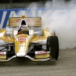 Ryan Hunter-Reay celebrates after winning Saturday's IZOD IndyCar Series race the Milwaukee Mile in West Allis, Wis. (IndyCar Photo)