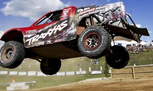Mark Jenkins sails through the air en route to his first Traxxas TORC Series Pro 4 class victory.  (Michael Roth Photo)