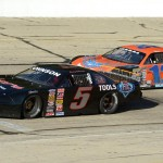 Eventual winner Casey Johnson (5) battles Nick Murgic during the Dick Trickle Memorial 99 at Madison (Wis.) Int'l Speedway. (Doug Hornickel photo)