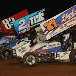 The UNOH All Star Circuit of Champions performed the missing man formation in honor of the late Jason Leffler prior to their feature at Williams Grove Speedway Friday. (Julia Johnson Photo)