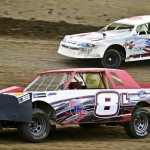 Stock cars jockey for position at Quad Cities Speedway in Illinois. (Brittany Bruning photo)