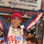 Helio Castroneves celebrates after winning Saturday's IZOD IndyCar Series Firestone 550 at Texas Motor Speedway. (Lynne Richards Photo)