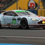 The No. 99 LM GTE Pro Aston Martin wheeled by Rob Bell, Bruno Senna, Johnny Adam and Fred Makowiecki sported the legendary Gulf colors during Wednesday's 24 Hours of Le Mans practice. (Pete Richards Photo)