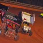 Sprint cars race for position during the USCS Thunder Tour event at Georgia's Lavonia Speedway. (Chris Seelman photo)