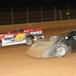 Joe Ender works to hold off Justin Williams (2) on way to his career first Victory Lap Late Model victory at Bill Sawyer's Virginia Motor Speedway. (Al Goulder photo)
