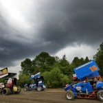 Storms move in during the IRA sprint car race at Wisconsin's Wilmot Speedway. (Brett Moist photo)