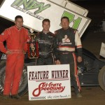 Shane Stewart (center), A.J. Bruns (left) and Greg Wilson claimed the top three positions in Saturday's Midwest Open Wheel Ass'n event at Tri-State Speedway in Indiana. (Mark Funderburk Photo)