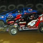 Craig VonDohren (1c) battles Jeff Strunk for the modified victory at Pennsylvania's Big Diamond Raceway. (Rich Kepner photo)