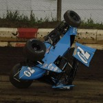 Derrick Rossio went for a wild ride during Friday's Midwest Open Wheel Ass'n event at Jacksonville (Ill.) Speedway. (Mark Funderburk Photo)