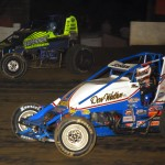 Levi Jones (39) and Chase Stockon battle for position during Wednesday's AMSOIL USAC National Sprint Car Series event at Grandview Speedway in Bechtelsville, Pa. (Rich Kepner Photo)