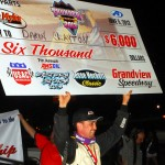 Daron Clayton celebrates in victory lane after winning Wednesday's AMSOIL USAC National Sprint Car Series race at Grandview Speedway in Bechtelsville, Pa. (Rich Kepner Photo)