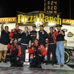 Michael Self celebrates in victory lane with his crew after winning Friday's NASCAR K&N Pro Series East/West event at Iowa Speedway. (NASCAR Photo)