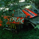 This former Jamie McMurray race car is one of several race cars hidden away in Dale Earnhardt Jr.'s race car graveyard. (Ralph Sheheen Photo)