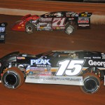 Steve Francis (15) and Don O'Neal (71) battle during Friday's Lucas Oil Late Model Dirt Series event at Tazewell (Tenn.) Speedway. (Michael Moats Photo)