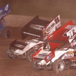 Jason Sides (7s), Steve Kinser (11) and Cody Darrah battle during Saturday's World of Outlaws STP Sprint Car Series event at Beaver Dam (Wis.) Raceway. (Bob Cruse Photo)