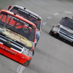 Ty Dillon (3) leads the NASCAR Camping World Truck Series field during Thursday's race at Kentucky Speedway. (HHP/Brian Lawdermilk Photo)