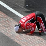 Ryan Newman kisses the bricks after winning Sunday's Brickyard 400 at Indianapolis Motor Speedway. (HHP/Alan Marler Photo)
