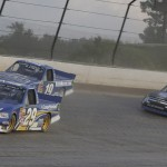 Ryan Blaney (29), Dave Blaney (19) and Ryan Newman on track during NASCAR Camping World Truck Series practice at Eldora Speedway. (HHP/Harold Hinson Photo)