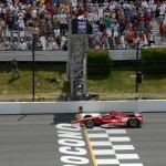 Scott Dixon crosses the finish line to win Sunday's IZOD IndyCar Series race at Pocono Raceway. (IndyCar Photo)