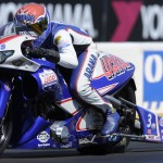 Hector Arana Jr. drove to victory in the NHRA Pro Stock Motorcycle class Saturday at Sonoma (Calif.) Raceway. (NHRA Photo)