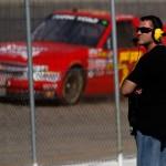 Eldora Speedway owner Tony Stewart watches NASCAR Camping World Truck Series practice Tuesday. (NASCAR Photo)