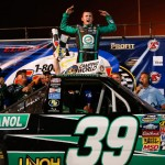 Austin Dillon celebrates in victory lane after winning Wednesday's Mudsummer Classic at Eldora Speedway. (NASCAR Photo)