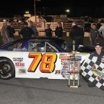 Skylar Holzhausen in victory lane after winning Saturday's ARCA Midwest Tour event at Marshfield (Wis.) Motor Speedway. (Doug Hornickel Photo)