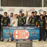 Kyle Busch and his crew celebrate in victory lane after winning Tuesday's Howie Lettow Memorial 150 at The Milwaukee Mile. (Doug Hornickel Photo)