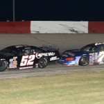 Chris Wimmer (52) battles eventual winner Jonathan Eilen during Saturday's ARCA Midwest Tour race at Grundy County Speedway in Morris, Ill. (Doug Hornickel Photo)