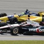 Will Power (12) battles alongside Tony Kanaan during Sunday's IZOD IndyCar Series race at Pocono Raceway. (Al Steinberg Photo)