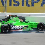 James Hinchcliffe comes to a stop after crashing in the first turn on the opening lap of Sunday's IZOD IndyCar Series race at Pocono Raceway. (Al Steinberg Photo)