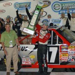 Timothy Peters celebrates in victory lane after winning Saturday's NASCAR Camping World Truck Series race at Iowa Speedway. (Dan Hodges Photo)