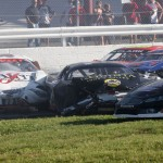 An early multi-car crash eliminated several drivers from the International 500 Sunday at Airborne Speedway. (Leif Tillotson Photo)