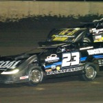 John Blankenship (23) battles Chris Simpson during Friday's Lucas Oil Late Model Dirt Series event at Tri-City Speedway in Pontoon Beach, Ill. (Don Figler Photo)