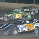 Billy Drake (75), Billy Laycock (82) and Jason Feger during Friday's Lucas Oil Late Model Dirt Series race at Tri-City Speedway in Pontoon Beach, Ill. (Don Figler Photo)