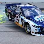 Brad Keselowski's No. 2 Ford flies into the air during a crash Sunday at Kentucky Speedway. (NASCAR Photo)