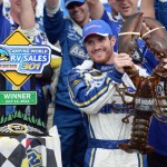 Brian Vickers stands in victory lane after winning Sunday's NASCAR Sprint Cup Series race at New Hampshire Motor Speedway in Loudon, N.H. (NASCAR Photo)