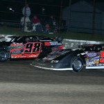Dave Eckrich (58) makes his way to the front en route to winning the Corn Belt Clash dirt late model race at Lafayette County Speedway in Wisconsin. (Mike Ruefer photo)