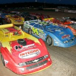 The field for the World of Outlaws Late Model Series race at Canandaigua Motorsports Park makes a four-wide parade lap. (Dave Dalesandro photo)