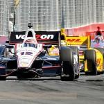 Will Power (12) leads Ryan Hunter-Reay during Sunday's IZOD IndyCar Series race at Exhibition Place in Toronto, Ontario. (Joe Proietti Photo)