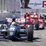 Tony Kanaan (11) battles for position during Sunday's IZOD IndyCar Series race at Exhibition Place in Toronto, Ontario. (Joe Proietti Photo)