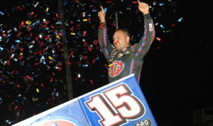 Donny Schatz celebrates in victory lane after winning a World of Outlaws STP Sprint Car Series race at Williams Grove Speedway in July. (Julia Johnson Photo)