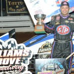 Donny Schatz stands in victory lane after winning Saturday's World of Outlaws STP Sprint Car Series feature at Williams Grove Speedway. (Julia Johnson Photo)