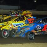 Craig Von Dohren (1c) and Frank Cozze (357) work traffic at Pennsylvania's Grandview Speedway. (Rich Kepner photo)