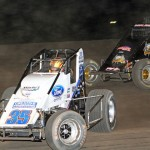 Hunter Schuerenberg (35) and Dave Darland during Friday's AMSOIL USAC National Sprint Car Series event at Indiana's Gas City I-69 Speedway. (Gordon Gill Photo)