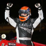 Jon Stanbrough celebrates after winning Friday's AMSOIL USAC National Sprint Car Series feature at Indiana's Gas City I-69 Speedway. (Gordon Gill Photo)