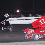 Channin Tankersley (71) and Blake Hahn during Saturday's ASCS Gulf South Region event at Battleground Speedway in Houston, Texas. (RonSkinnerPhotos.com Photo)