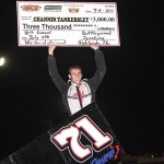 Channin Tankersley celebrates after winning Saturday's ASCS Gulf South Region event at Battleground Speedway in Houston, Texas. (RonSkinnerPhotos.com Photo)