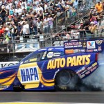 Ron Capps performs a burnout during Sunday's NHRA Mello Yello Drag Racing Series event at Sonoma (Calif.) Raceway. (Jerry Jones Photo)