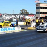 Jeg Coughlin Jr. (left) battles Vincent Nobile (right) in the finals of Sunday's NHRA Pro Stock ladder at Sonoma (Calif.) Raceway. (Jerry Jones Photo)